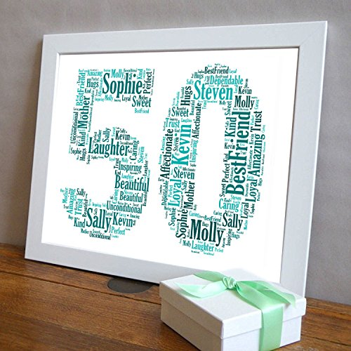 50th Birthday UPK Gifts Personalised Word Art Gift With FREE FRAME Keepsake Any Age 50 1st 16th 18th 21st 30th 40th 60th 70th Son Daughter Dad Daddy