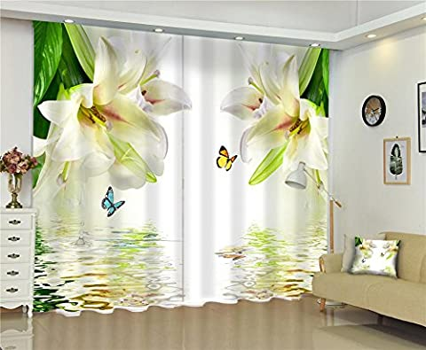 Dbtxwd 3D Lily flowers water reflection Digital printing Polyester Fabrics Bedroom living room Decoration Curtains Anti-UV Thickened drape Warm Protecting Window Drapes , wide 3.0x high