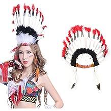 NUOLUX Indien plume Bandeau Coiffe Carnaval Bandeau Costume Chapeaux pour  Femmes Fête des Filles