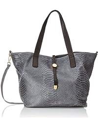 CTM Bag Handtaschen, Taschen, Schulranzen mit Pythondruck, 30x24x13cm, 100% echtes Leder Made in Italy