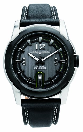 Jorg Gray Men's Analogue Watch JG9400-24 with Black Dial and Leather Strap