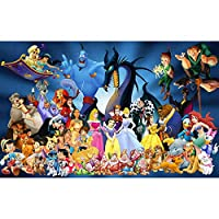 Leezeshaw 5D DIY Diamond Painting by Number Kits Fameless Rhinestone Embroidery Paintings Pictures for Home Decor - Disney 50x40cm