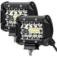 LE LED Focos de Coche, 2pc 60W 4800lm 4 Pulgadas, Haz Combinado, Resistente al agua IP68, Blanco frío, Foco LED Todoterreno Trabajo Tractor Camión Barco etc