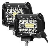 LE 2er LED 60W Zusatzscheinwerfer 12V 24V 4 Zoll 4800lm 3 Reihen Arbeitsscheinwerfer LED Scheinwerfer IP68 wasserdicht Flutlichtstrahler und Scheinwerfer, Combo Licht mit 20 LEDs
