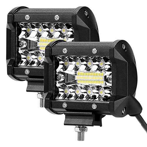 Lighting EVER Projecteur LED Phare de Travail LED 4800lm Imperméable IP68 feux longue portee 60w, Phare LED Moto Compact et Puissant Voiture Camion SUV Tracteur Bateau Chantier
