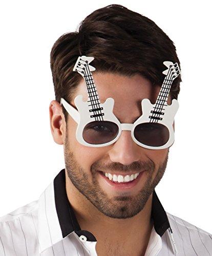 erdbeerclown - Rock´n Roll E-Gitarre Brille Kostüm Sonnenbrille, (Anzug Disco Weißen Kostüme Männer)
