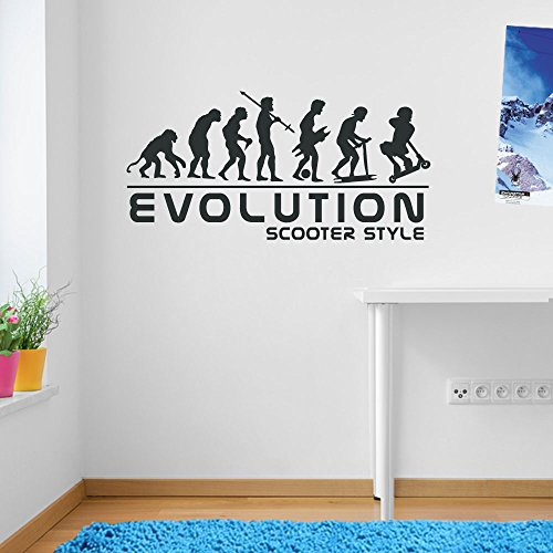 Stunt-Scooter Sport Evolution Scotter Stil Wand Dekorationen Fenster Aufkleber Wall Decor Sticker Wall Art Aufkleber Sticker Wand Aufkleber Aufkleber Wandbild Décor DIY Deco Abnehmbare Wandaufkleber Colorful Aufkleber, Vinyl, 16 - Charcoal, Large