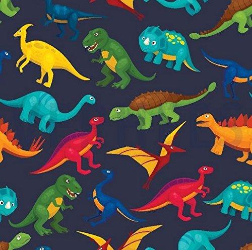 0,5m Sommer Sweat Digital Dinos dunkelblau 95% Baumwolle 5% Elasthan Meterware 140cm breit Motivgröße Dinos ca. 8 bis 9cm (Digital Sommer)