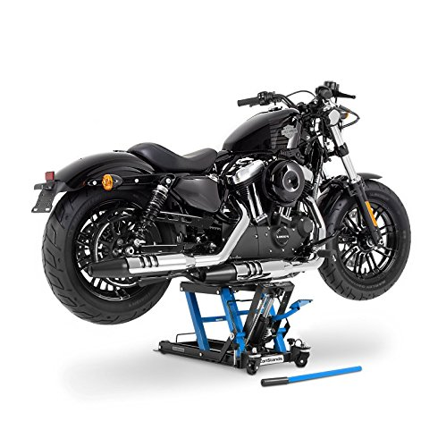 ConStands - Motorrad-Hebebühne für Harley Davidson Road King/Classic, Softail Breakout Hydraulisch Sicherung Blau
