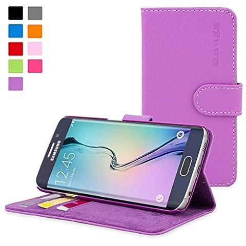 Coque Galaxy S6 Edge, Snugg Samsung Galaxy S6 Edge Etui à Rabat [Emplacements Pour Cartes] Cuir Portefeuille Housse Désign Exécutif [Garantie à Vie] - Violet, Legacy Range