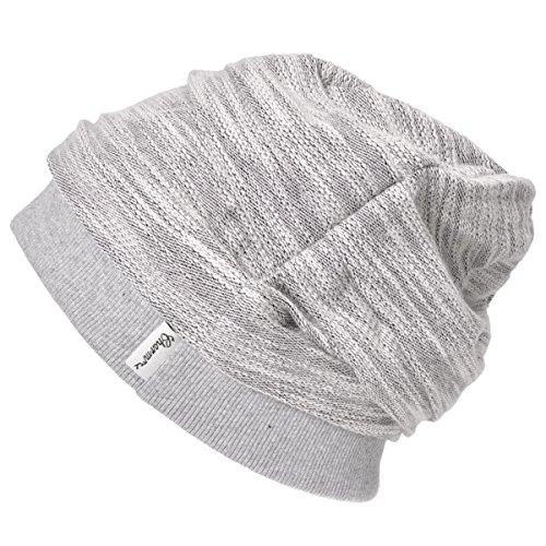 Casualbox Hommes Grand Tricoter Bonnet Coton Bouffant Japonais Gris Clair