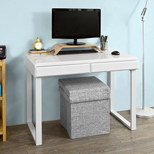 SoBuy® Schreibtisch(100x55x76cm), Computertisch, Arbeitstisch mit Schubladen, MDF-weiß, Hochglanz, FWT27-W