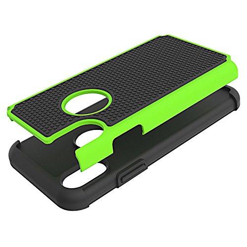 BCIT iPhone 8 Schale - [Fußballmuster-Design] Rüstung Serie Anti-Rutsch Schutz Cover PC + TPU Dual Layer Hybrid Case für iPhone 8 - Schwarz grün