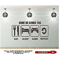 EAT SLEEP GAME REPEAT Wandtattoo Wandaufkleber Wandsticker Wandbilder Personalisiertem Namen, PS4, XBOX
