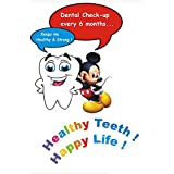 MAHALAXMI Art Dental Dentist Poster Healthy Teeth Happy Life No. 1 Wall Poster Print On Art Paper 13x19Inches, Multicolor