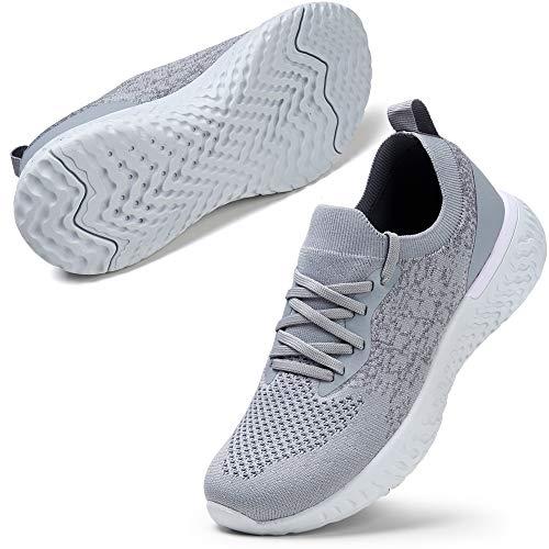 STQ Damen Laufschuhe Mesh Atmungsaktiv Trainer Sneakers Fashion Casual Turnschuhe Outdoor Fitness Jogging Schuhe Grau 40 EU