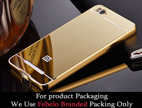 Febelo Branded Luxury Metal Bumper Acrylic Mirror Back Cover Case For Xiaomi Mi4i - Gold Plated