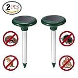 Vegas 2 PCS Solar Mole Repeller, Ultrasonic Rat Mouse Repellent Deterrent Spike For Garden Yard Field Farm Glassland