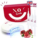 Teeth Whitening Kit by XOsmile - White Teeth in 10 Minutes - 3 Gels, 1 Led Light, 1 Mouth Tray - No Peroxide - 100% Effect - Cruelty Free - UK Dentists Formula