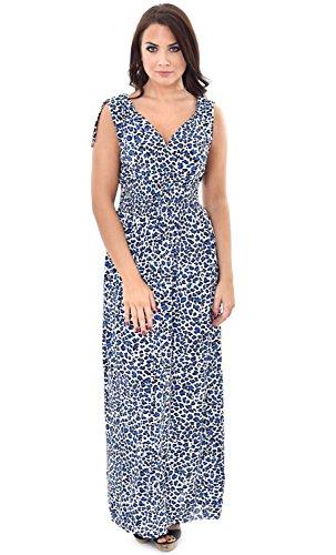 Maxi robe d'été pour femme Motif Animal imprimé léopard avec attache-Épaule Bleu - Bleu