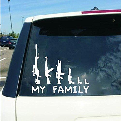 Surface Mount Radio (Forspero Car Sticker MY FAMILY Gun Decals Vehicle Truck Bumper Fenster Wand Spiegel Dekoration)