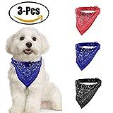 Pet Bibs, Legendog 3Pcs Dog Bibs Triángulo Ajustable Puppy Pañuelo Pañuelo Impreso Pet Bandana para Perro M