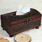 Masterein Rechteck Handarbeit Taschentuch Box aus Holz Antik Tissue Aufbewahrungsbox Retro Tissue Halter Rolle Papier Halter Toilettenpapier Container