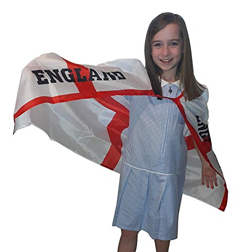 Party Themen England Kostüm - Trixes England St George Kinder Cape Einheitsgröße für Kinder mit Klettverschluß ideal für Fußball und andere Sportveranstaltungen