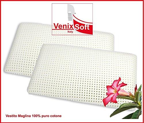 Coppia cuscini guanciali VENIXSOFT lattice saponetta traspirante con federa cotone sfoderabile con zip, prodotto in Italia