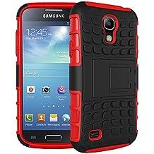Samsung Galaxy S4 I9500 Funda Con Pata de cabra / Stand,EMAXELERS Slim Protector Dise?o Seguro Non-Slip Grip Unico Hybrid Soft & Duro A prueba de golpes Protecci¨®n Cover Para Samsung Galaxy S4 I9500(Red)