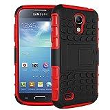 Samsung Galaxy S4 I9500 Funda Con Pata de cabra / Stand,EMAXELERS Slim Protector Dise?o Seguro Non-Slip Grip Unico Hybrid Soft & Duro A prueba de golpes Protecci¨n Cover Para Samsung Galaxy S4 I9500(Red)