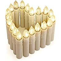 20er LED Kerzen [Fernbedienung, Timer und Batterien] IP64 Dimmbar Kerzenlichter Flammenlose Weihnachtskerzen für Weihnachtsbaum, Weihnachtsdeko, Hochzeit, Geburtstags, Party