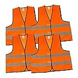 elasto form Warnwesten 4er-Set nach EN ISO 20471 Zertifiziert Warnweste Auto Neon-Orange Einheitsgröße XXL mit Reflektorstreifen