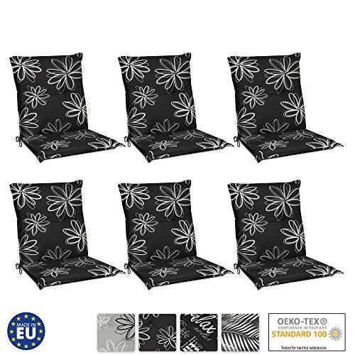 Beautissu 6er Set Flores Niedriglehner Auflagen Set für Gartenstühle 100x50 cm - Bequeme Gartenstuhl Stuhlkissen Polsterauflagen UV-Lichtecht