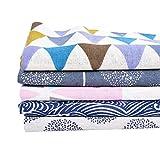 Souarts 5PCS Textile Tissu Coton Motif Arbre Vague pour DIY Patchwork Artisanat...