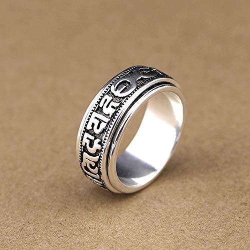 GHY Ring Kreative Retro Thai Silber Rotierenden Six-Word Mantra Ring Trend Persönlichkeit Ring Schmuck,Bild,19#