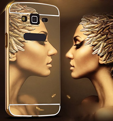 Heartly Premium Luxury Metal Bumper Frame With Acrylic Mirror Back Case Cover For Samsung Galaxy Grand Quattro GT-I8552 - Hot Gold