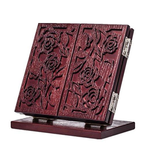 Meydlee Europäische Retro Carve Holz Make-up Spiegel Folding 3 Gesicht Tabletop-Spiegel , c