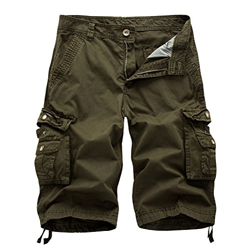 Calsky Mens Casual Cargo Shorts Walking Shorts Combat Camouflage Shorts Cotton Solid