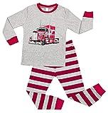 Charmo Jungen Pyjamas Sets Halloween Mädchen Baumwolle Schlafanzug Auto Print Nachtwäsche Langarm Pyjama 2 Stück PJS Sets Winter Bodys Rose Rot 4 Jahre