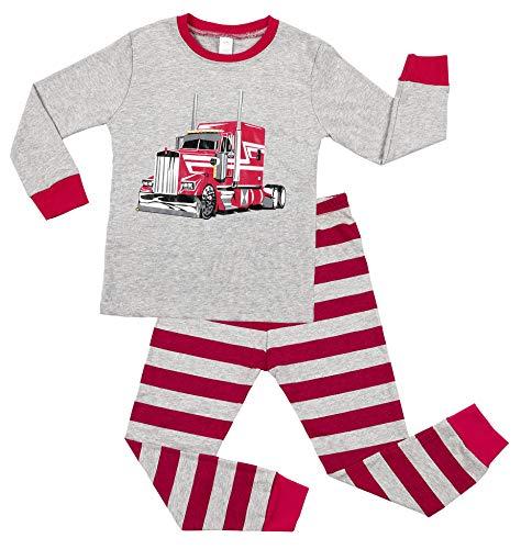 Charmo Jungen Schlafanzug Halloween Pyjamas Mädchen Nachtwäsche Car Print PJS Kinder Langarm Schlafanzüg Kinder 2 Stück Outfits Winter Warm Rose Rot 3 Jahre