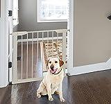 Pawhut - Cancelletto di Sicurezza per Animali Domesticie Bambini Larghezza Regolabile in Ferro 65-72x74cm Bianco immagine