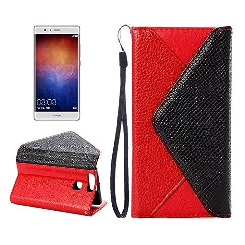 HUAWEI CASE COVER Huawei P9 Horizontale Flip Leder Tasche Umschlag Stil Litchi Texturewith Magnetic Gürtelschnalle & Halter & Card Slots & Foto Frame & Wallet ( Color : Red )