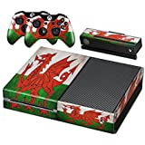 Xbox One Protective Vinly Skin Sticker Consola Decal Pegatinas + 2 Controlador & Kinect Skins Set (Flags Wales)