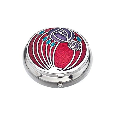 Pillendose in ein Mackintosh Zwei Rosen Design. rot -