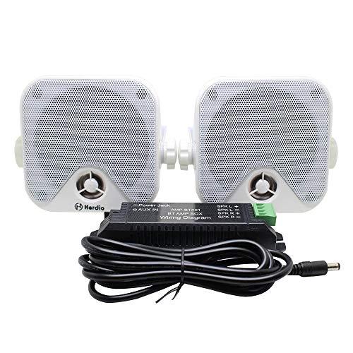Herdio 100W 10,2 cm kompakter Wasserdichter Bluetooth Marine Stereo Box Lautsprecher für Boot ATV UTV Powersport Fahrzeuge Hof Weiß