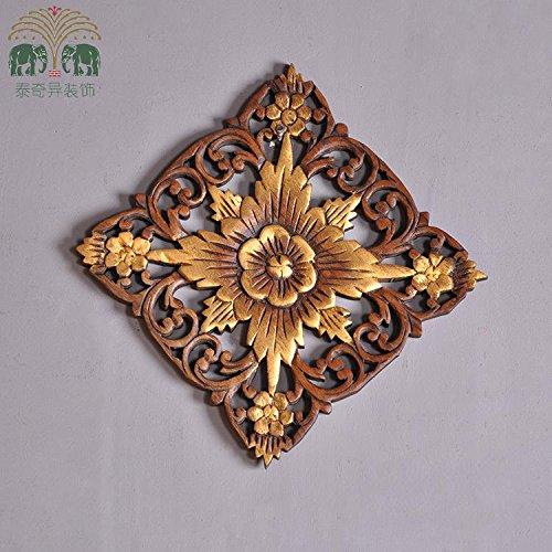 Sjun thai-style arazzi in legno intagliato da appendere alla parete 25cm