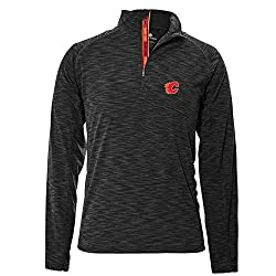 NHL Calgary Flames Men's Mobility Team Text Quarter Zip Pullover, Small, Charcoal
