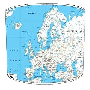 Premier Lampshades–Techo Mapa de Carreteras de Europa Drum Pantalla