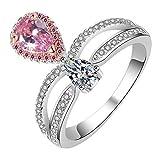 RKWEI Bagues Bague À Diamant avec Couronne De Diamants, Couleur Artificielle, Diamant De Femme en Vrac, Perle d'eau, Goutte d'eau @ 5